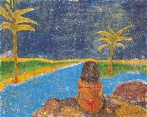 Acrylique sur ch�ssis toil� et sabl� (du sable est pr�alablement coll� sur la toile).une peinture qui peut vous emmener en contemplation  dimension : 40cm x 33cm