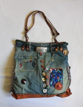 sac en jean d�lav�