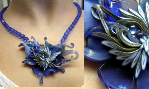 Somptueux Bijou de verre filé et perles de verre taillé. tour de cou ajustable . Boutique en ligne : www.koantiz.fr