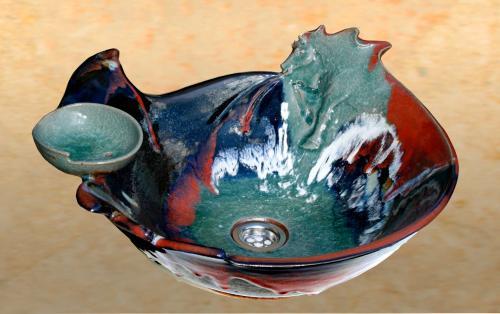 Lavabo avec porte savon  En vente sur notre boutique en ligne http://www.ceramique-deco-maison.com