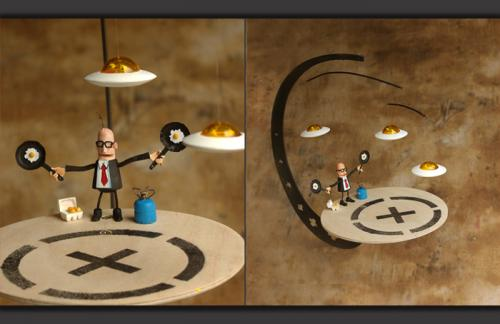 oeuf nids  mobile miniature/bois sculpté