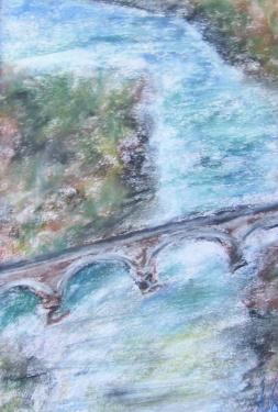 Le vieux pont, pastels