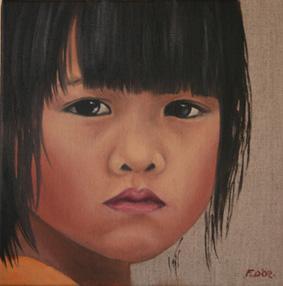 Huile sur toile 30x30 cm: Petite chinoise.