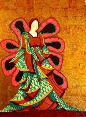 Princesse papillon, environ H 180 cm x L 100 cm, huile et dorure à la feuille sur toile lin et coton. Sans cadre. Région de Nice, enlèvement sur place.