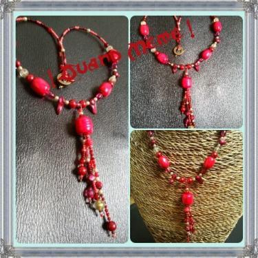 Collier rouge en bois, rocaille, perles synthétique