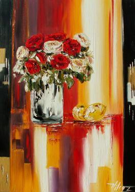 Les roses d'Ispahan huile sur toile  50x70 cm