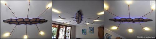 Plafonnier en frêne massif décoré à l'aérographe. Les leds d'éclairage sont télécommandables, il est ainsi possible de créer des ambiances différentes. Le rétro-éclairage est en RGB avec réglage d'intensité et également télécommandable. Les bras sont en cuivre. Longueur 2.8 m, largeur 2 m. N'est pas a vendre. Réalisation sur demande.