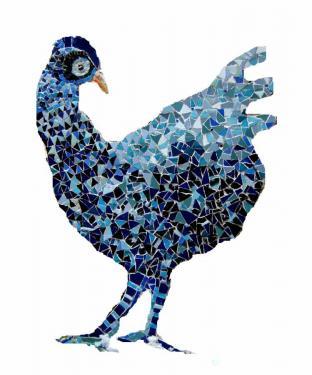 Poule bleue  hauteur 50cm.