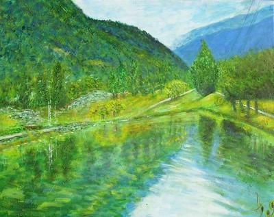 La vallée de la Tarentaise I., acrylique sur toile