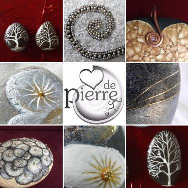 intégration de perles, coquilles, nacre, feuille d'or...