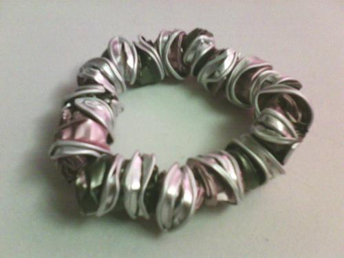 Bracelet perles nespresso rose/vert