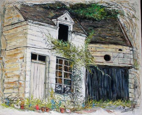 HUILE SUR TOILE 73X60 TITRE : TRACES DE VIE (vieille maison à l'abandon vers Montrichard)