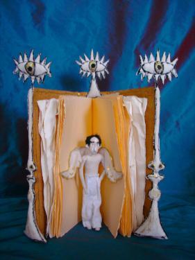 JEAN COCTEAU  Hauteur 0h70 environ sculpture rebecca campeau peinte  sculpture en papier RICHARD DE BAS  ET tissus EDMOND PETIT  a voir aux  FLANERIES-D ART D AIX-EN PROVENCE 2013    http://www.rebecca-campeau.com/index_3.html