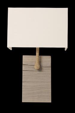 Applique murale Cordage, socle en bois de port et abat-jour avec choix de coloris, tige recouverte de cordage chanvre, pour une déco naturelle d'inspiration bord de mer. abat-jour blanc L25 P12 H 39