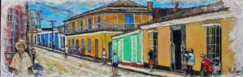 HUILE SUR TOILE 90X30 TITRE : PROMENADE A TRINITAD (Cuba)