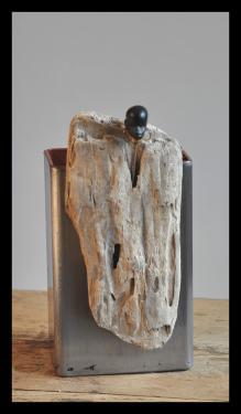 Vase déco art singulier Acier vernis 6 x 10 cm hauteur 15 cm.