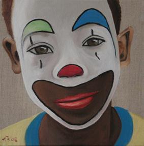 Huile sur toile en lin 30x30 cm: Petit clown antillais.