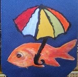 Peinture sur une cravate pour un festival de la mer