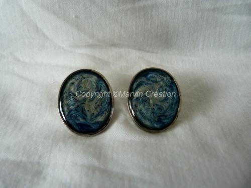 B.O Support argenté ovale, peintures à effets turquoise, gris Réf: BO0814