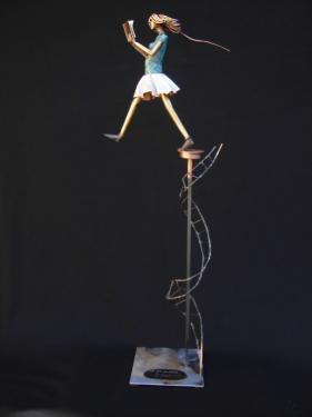 Le fil des rêves Acier cuivre patiné. H 60 cm ( variable )