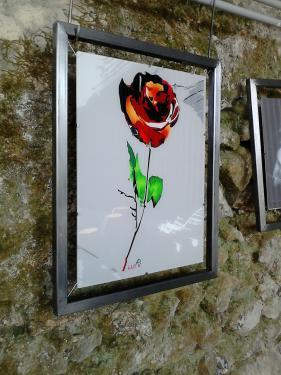 Rose, cadre acier vernis, et création numérique imprimé sur plexiglas 30 x 40 monté sur câble. Dimension total 38 x 48