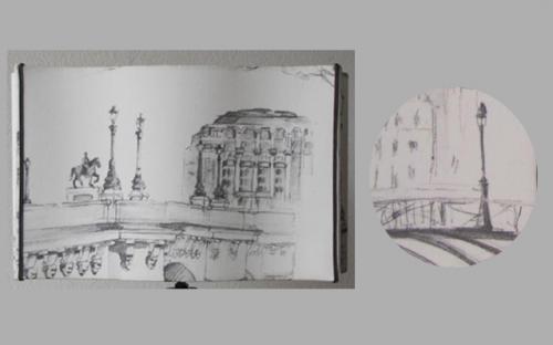Rectangle Alsacien, un imprimé sur le thème du Pont Neuf de Paris et ses réverbères en monochrome. Pour souligner cet abat-jour 2 soutaches rappelant la teinte du tissu.