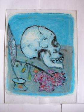 format 24 36 peinture sur verre  vanitée