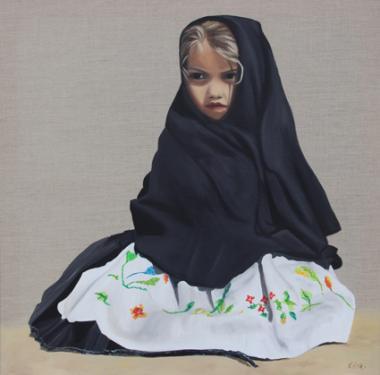 Huile sur toile en lin 70x70 cm: Maria.