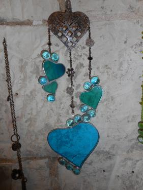 mobile coeurs turquoise
