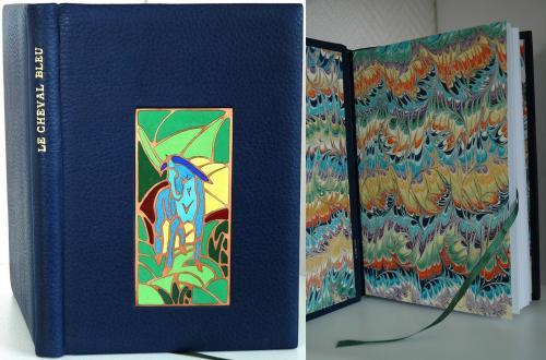CARNET D'ECRITURE Reliure 22x15 cm, buffle bleu, sur carte 160 g Email champlevé