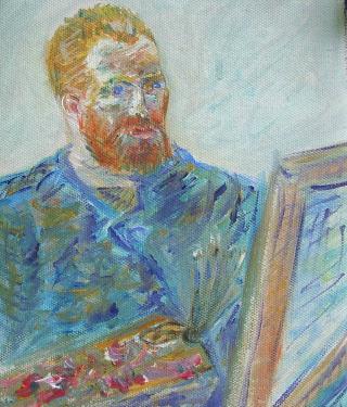 Van Gogh, d'après l'autoportrait, huile sur toile