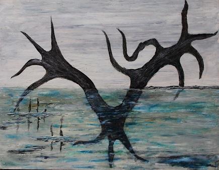 LE BAIN DU TITAN - Huile sur bois  30/40 CM  Le Titan des mers, lève son corps aveuglé par la colère et s'écrase sur l'eau !