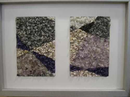 Duo d'am�thyste. Composition r�alis�e � partie de min�raux divers dont l'am�thyste, le quartz fum� et autres...ainsi que du verre Orsoni.