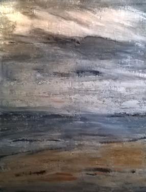 jour de brume huile sur toile 116 x 89 cm