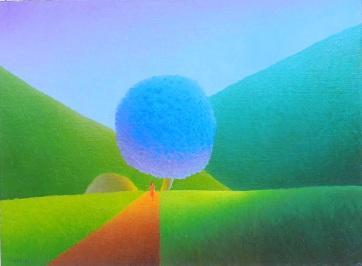- huile sur toile | ARBRE BLEU   Dimensions 80 x 60 cm