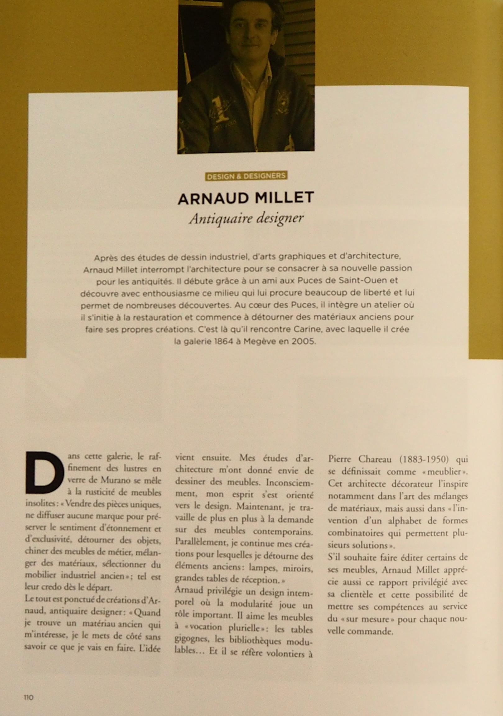 Actualit� de Arnaud Millet SARL 1864 Livre sur le style Savoie Mont-Blanc