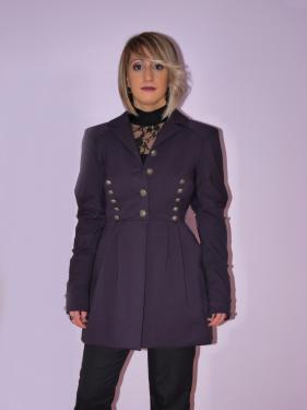 Veste longue cintrée Fermée par boutonnage Col tailleur Plis et boutons décoratifs
