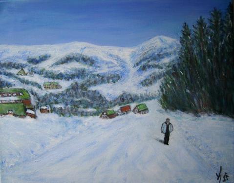 Krkonose, Boh�me du Nord, acrylique sur toile