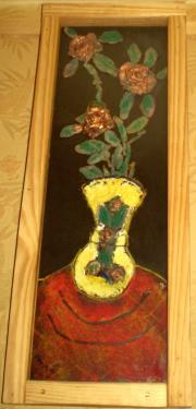Tableau en parfait état. Original, Signé, mis en vente par l?artiste.  Matériaux utilisés: Liège, Pin   Vase. Tableau - Compositions et créations réalisées avec d'une technique mixte, un mélange   de matières ,d'argiles ,des sables; des peintures ; décoratif en relief  Encadrement verre - Hauteur 4,8 cm ; Longueur    62,5 cm Largeur 24 cm ;  Avec son support   Toutes mes créations et tableaux sont fait -   main par moi-même en pièces uniques. Peinte à la    main par le vendeur;   Avec son support Toutes mes créations et tableaux    sont fait - main par moi-même en pièces    uniques. Peinte à la main par le vendeur;   Art , Avec des matières naturelles  Tableau en parfait état. Original, Signé, mis en vente par l?artiste