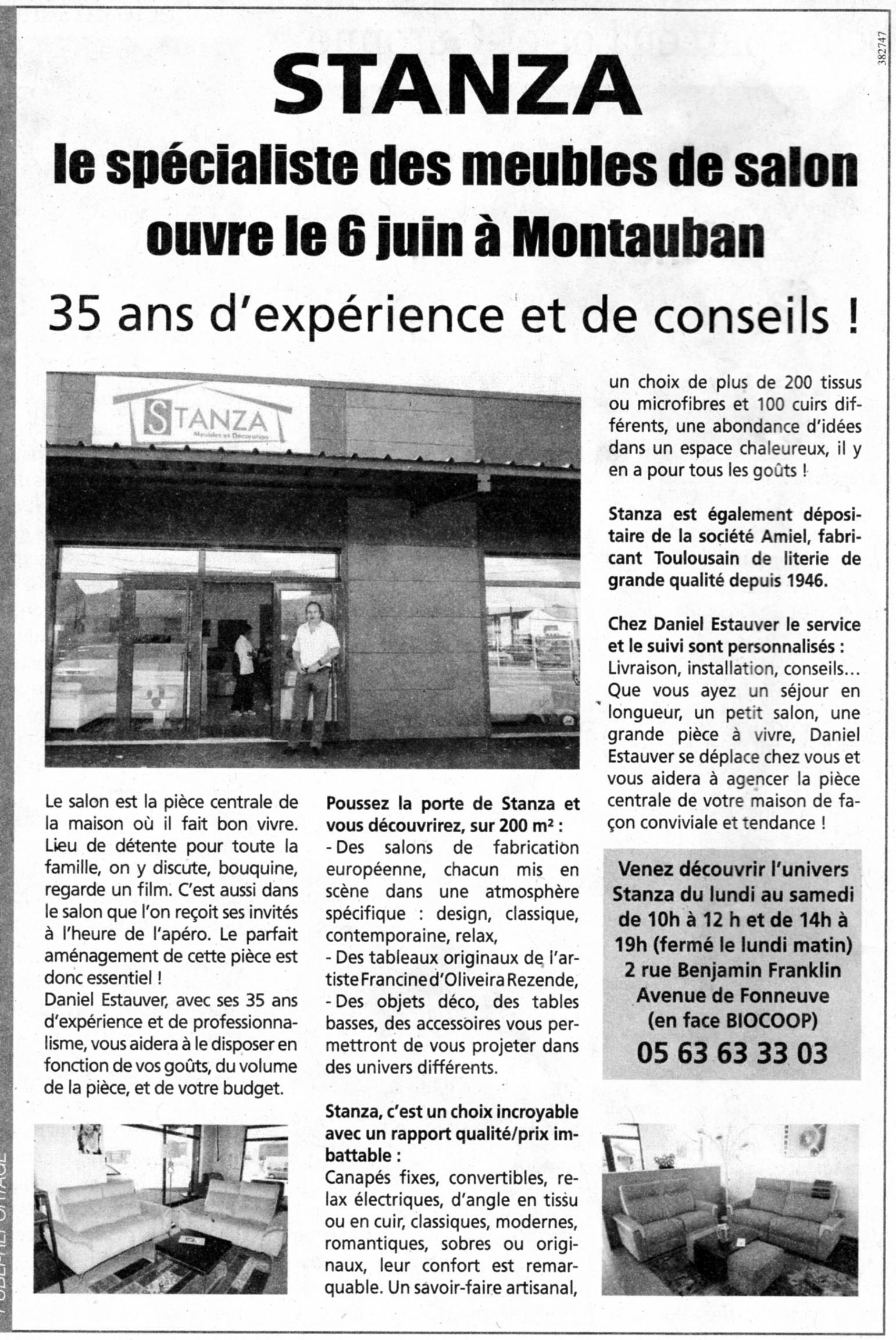Actualité de francine D'oliveira Rezende artiste peintre Exposition de toiles au magasin STANZA à Montauban.