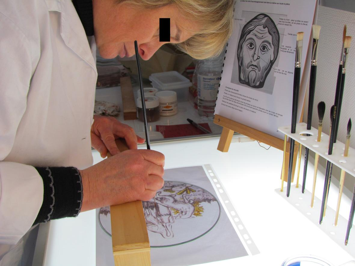 Actualit� de Claude THORAVAL Atelier de vitrail Stage d'initiation � la peinture sur verre traditionnelle d�di�e au vitrail : grisaille, �maux, jaun