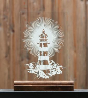 Gravure sur verre d'un phare