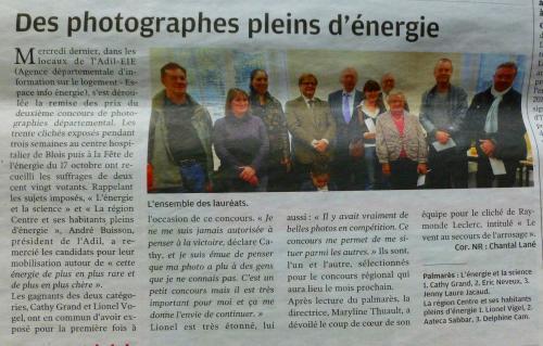 2ème  Article de presse à l'occasion de la remise des prix de La Nouvelle République du Lundi 29 Octobre 2012