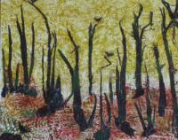 54. BOIS TRAUMATISE - Ecorce de bouleau jaune & Cire -37/45 cm , NICOLE BOURGAIT THIERRY LE SET DES FLEURS