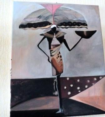 Porteur d'eau: tableau sur châssis toilé et peinture acrylique