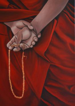 Huile sur toile 70x50 cm: Prière