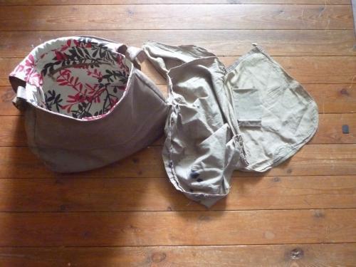 remplacement complet de doublure,corps,rabat et poches intérieures.