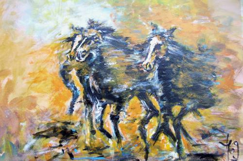 La horde sauvage, acrylique sur toile