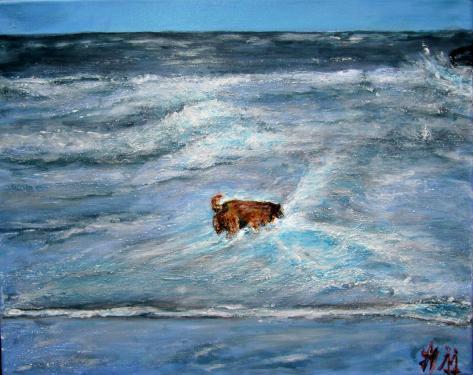 Micha dans les vagues, Bretagne, acrylique sur toile