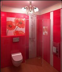 Réalisations de carrelages aux Formes/couleurs modernes et dessins de tableaux déclinés en version contemporaine. Voici la salle de bains  adoptée dans une maison terrasse.